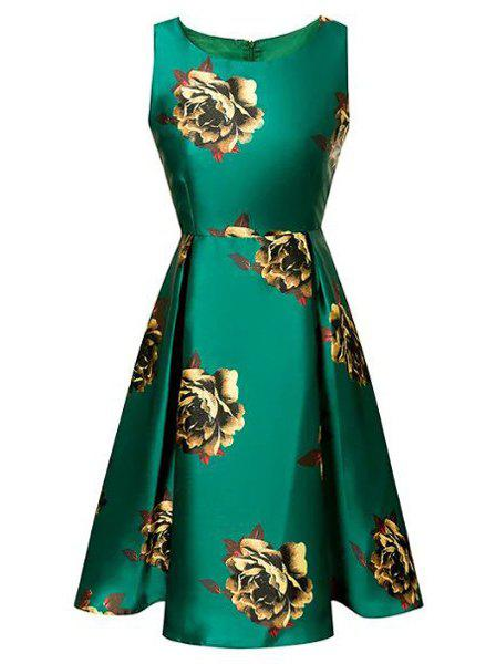Vintage Round Neck Sleeveless Floral Print Flared Women's Dress - GREEN S
