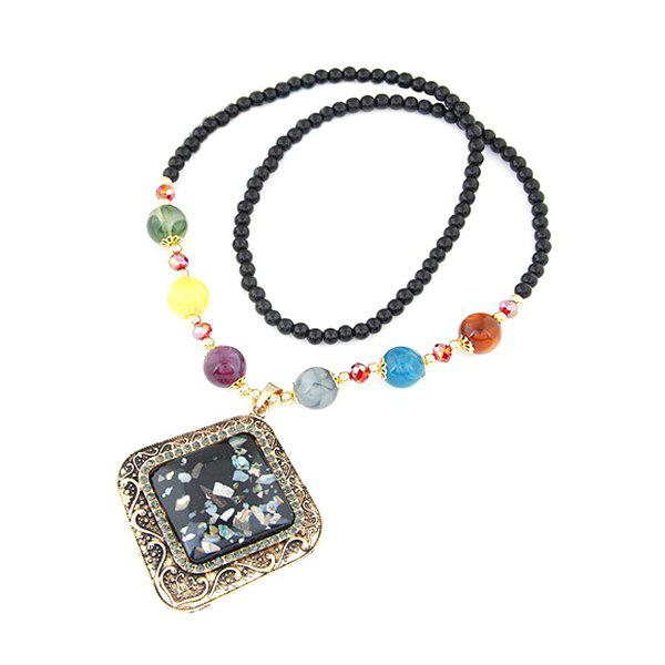 Chic Faux Gem Black Beaded Necklace For Women