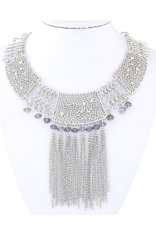 Ethnic Tassel Hollow Out Necklace - SILVER