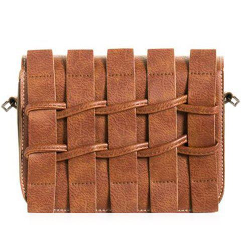 Retro Solid Color and Weaving Design Women's Crossbody Bag - EARTHY