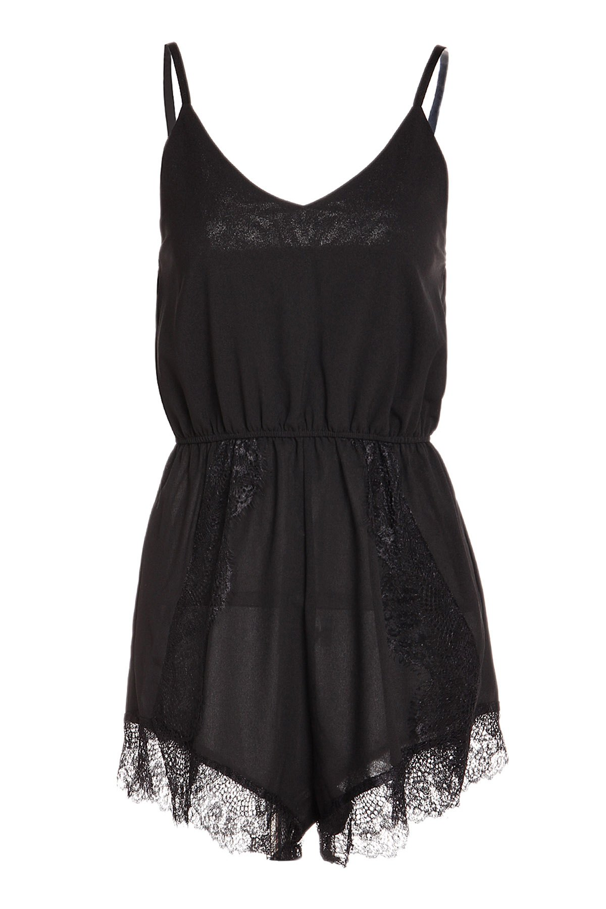 Stylish Sleeveless Spaghetti Strap Lace Embellished Women's Romper - BLACK L