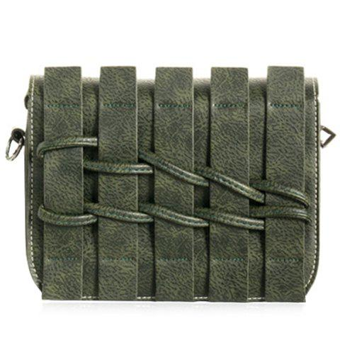 Retro Solid Color and Weaving Design Women's Crossbody Bag - ARMY GREEN