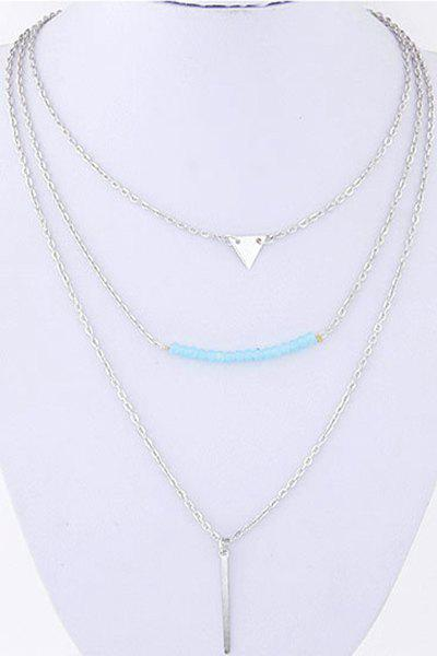 Triangle Beads Decorated Three Layered Pendant Necklace - SILVER