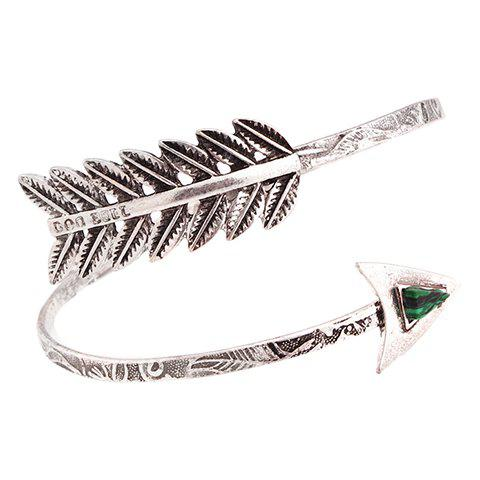 Gorgeous Faux Gem Leaf Arrow Bracelet For Women