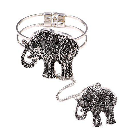 Gorgeous Embossed Elephant Bracelet with Ring For Women