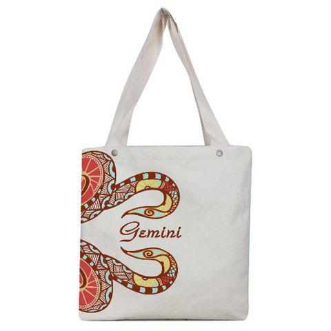 Leisure Gemini Print and Canvas Design Women's Shoulder Bag - WHITE