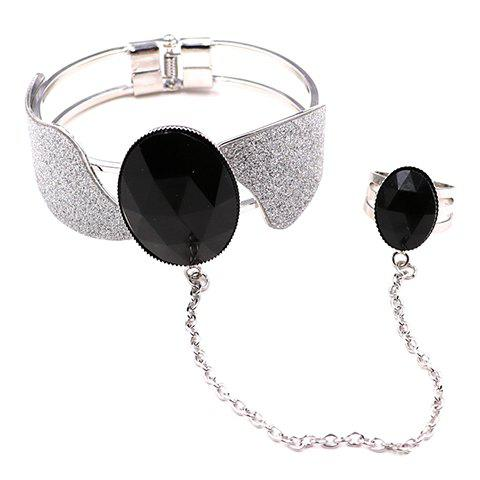 Gorgeous Faux Gem Propeller Bracelet with Ring For Women