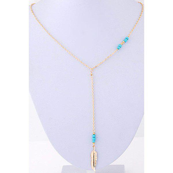 Chic Leaf Pendant Bead Golden Necklace For Women