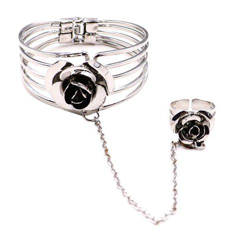 Hollow Out 3D Flower Bracelet with Ring - SILVER