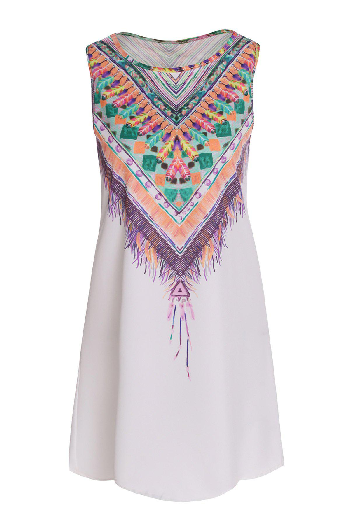 Ethnic Style Sleeveless Scoop Neck Printed Women's Dress - WHITE S