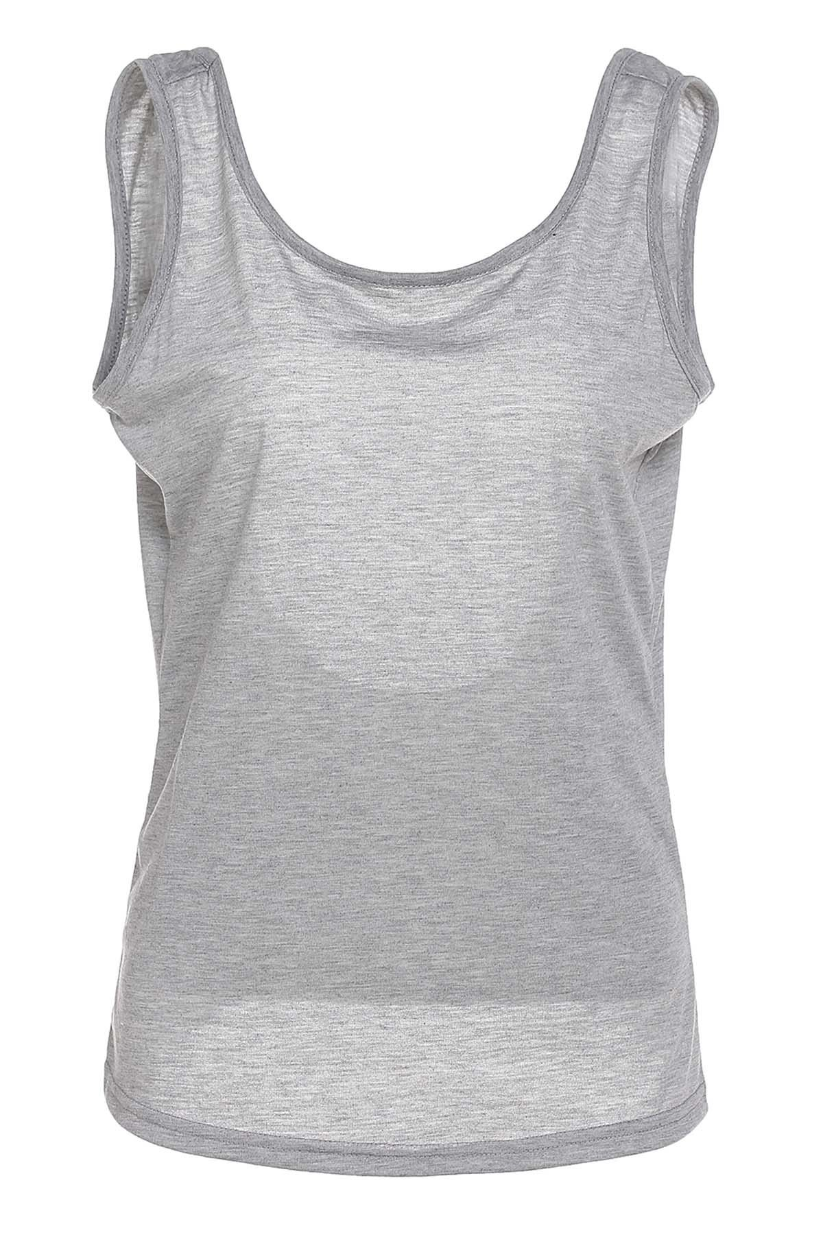 Stylish Women's Scoop Neck Backless Tank Top - GRAY S
