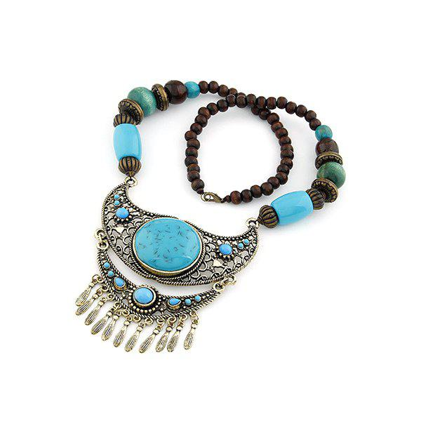 Chic Turquoise Ethnic Pendant Beaded Necklace For Women