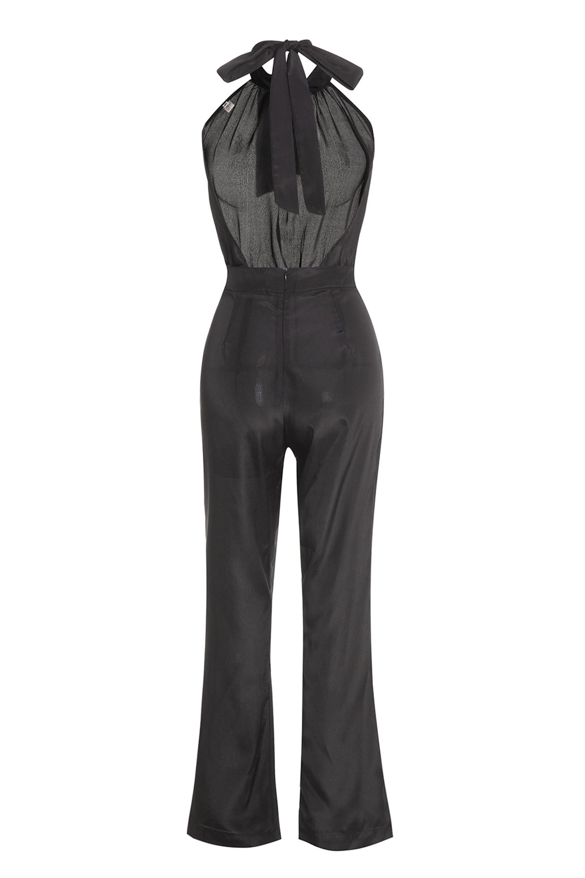 Stylish Halter Sleeveless Solid Color Backless Lace-Up Women's Jumpsuit - BLACK L