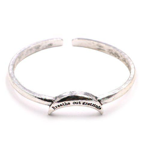 Letters Engraved Crescent Cuff Bracelet - SILVER