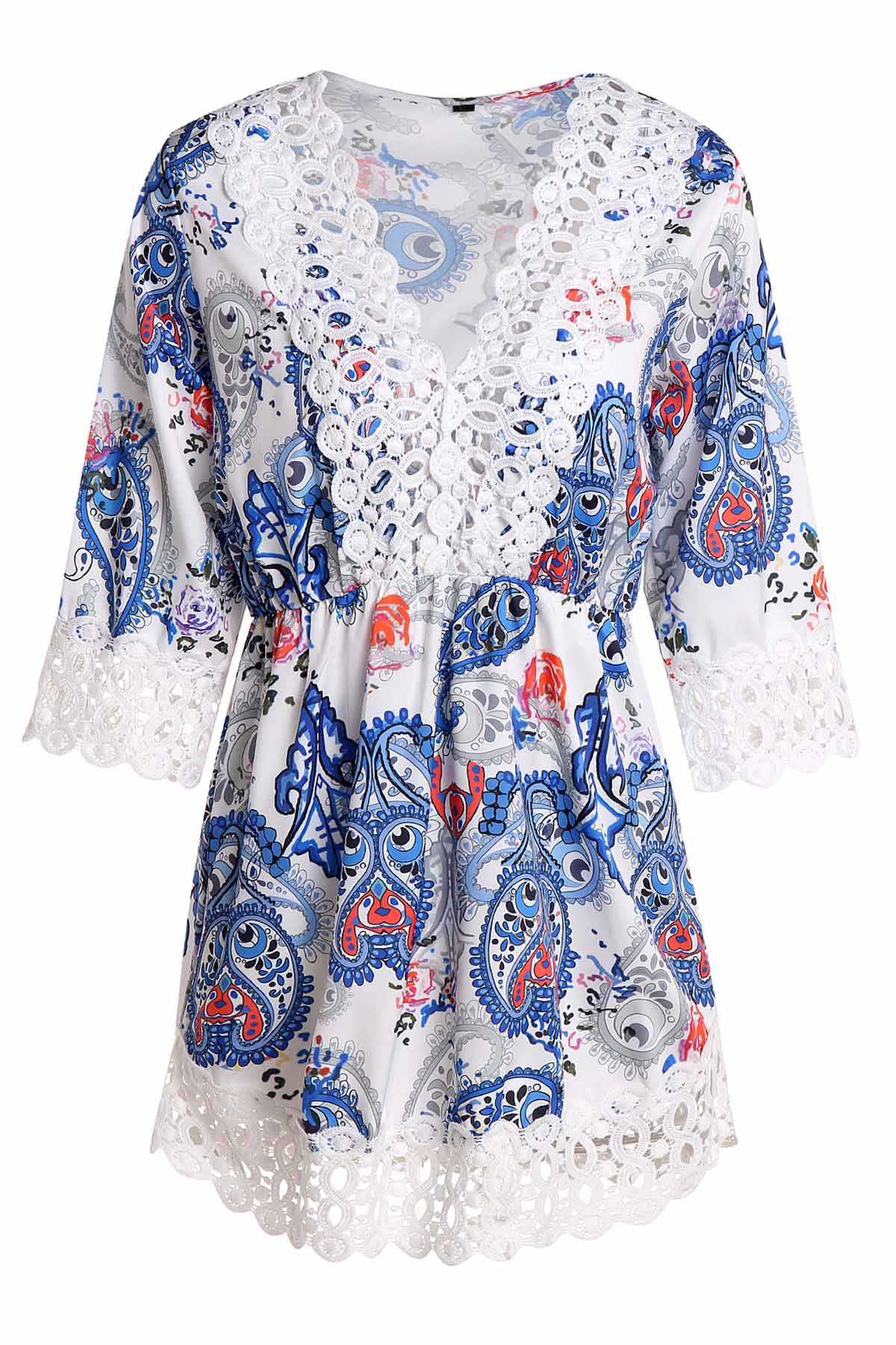 Sexy Women's V-Neck Lace Embellished Paisley Dress - BLUE L