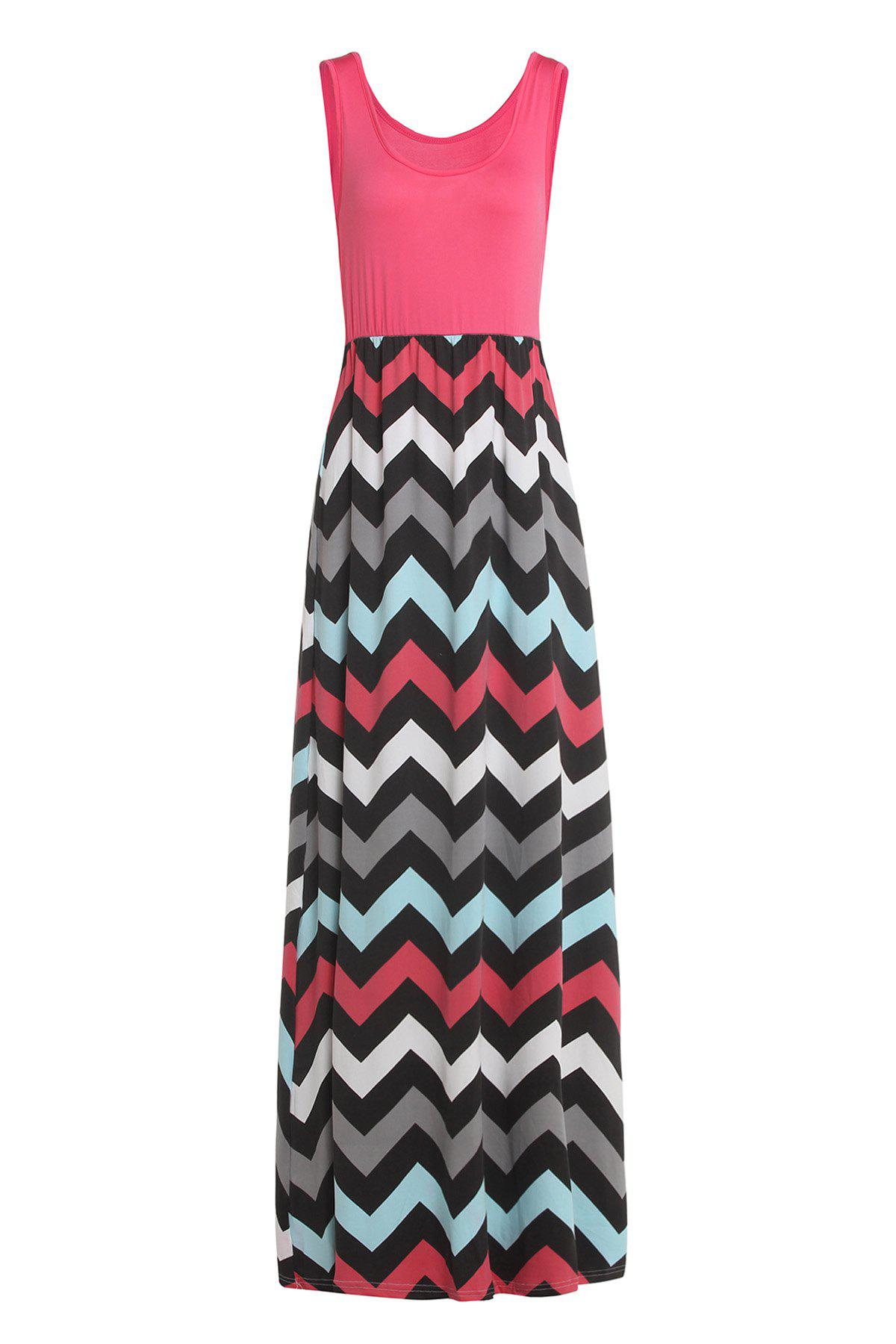 Sleeveless Scoop Neck Striped Long Dress - WATERMELON RED S
