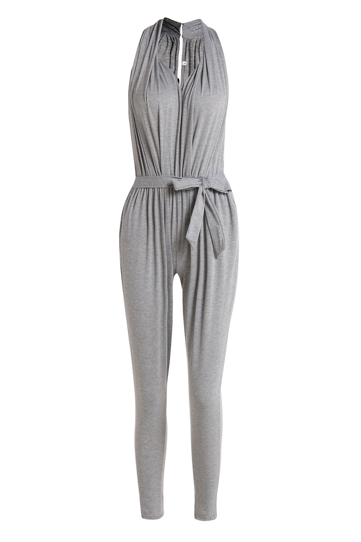 Stylish Plunging Neck Sleeveless Pocket Design Solid Color Women's Harem Jumpsuit - GRAY S