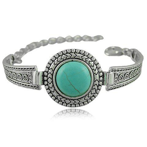 Retro Faux Turquoise Embossed Alloy Bracelet For Women