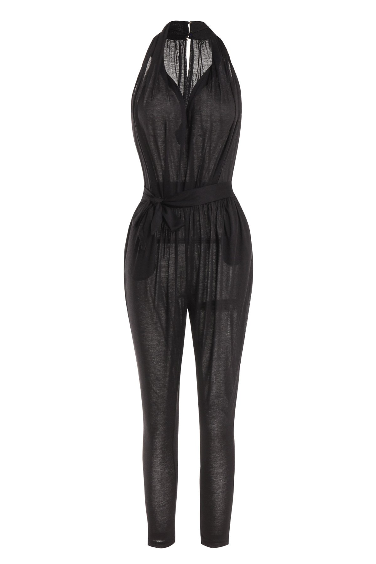 Stylish Plunging Neck Sleeveless Pocket Design Solid Color Women's Harem Jumpsuit - BLACK XL