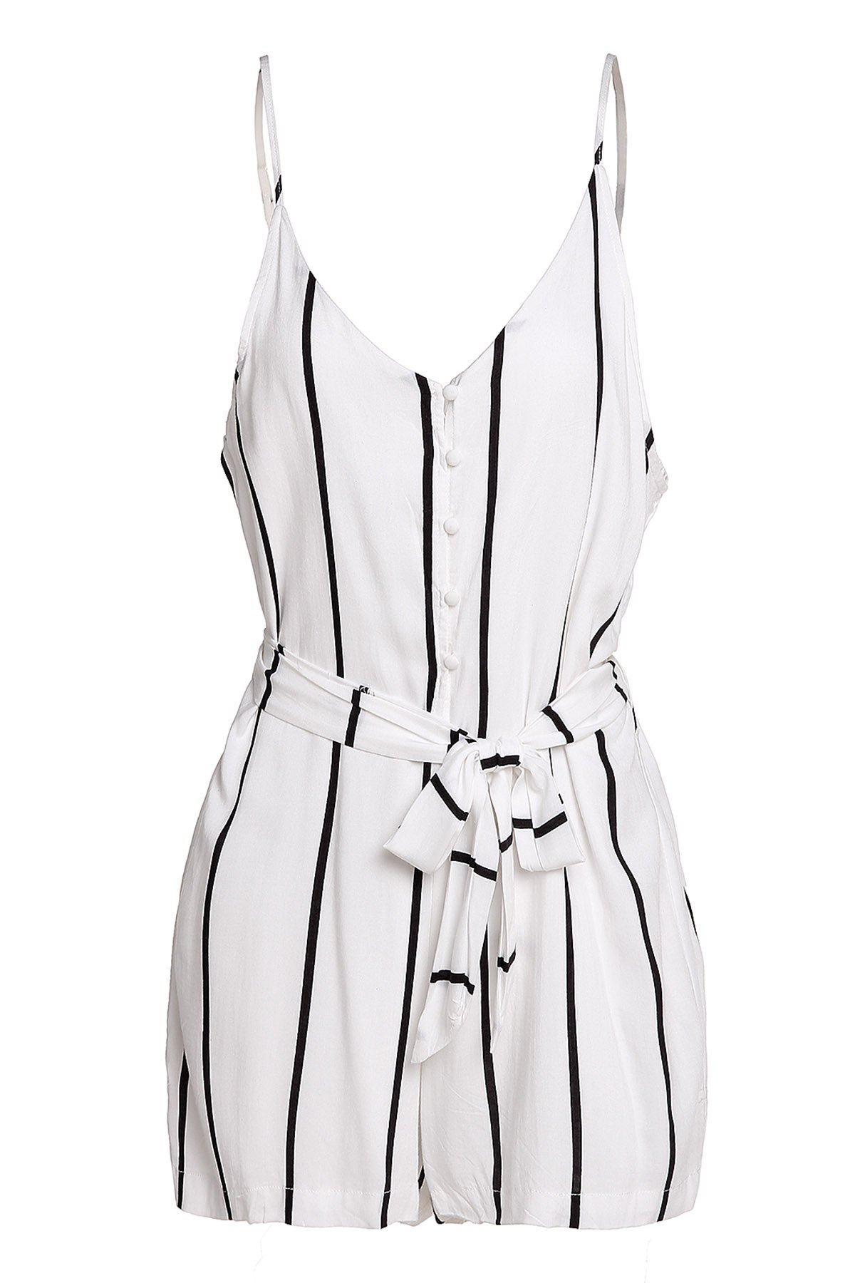 Stylish Spaghetti Strap Button Design Striped Women's Romper - WHITE S