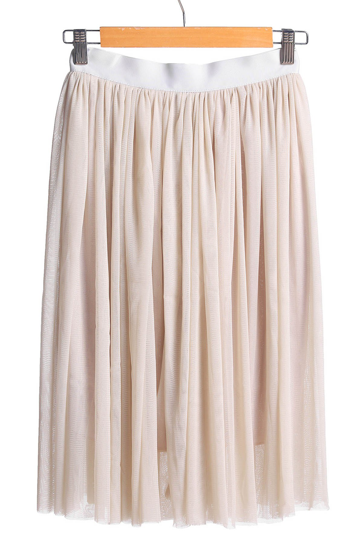 Stylish Elastic Waist Ball Gown Solid Color Voile Women's Skirt - GRAY L