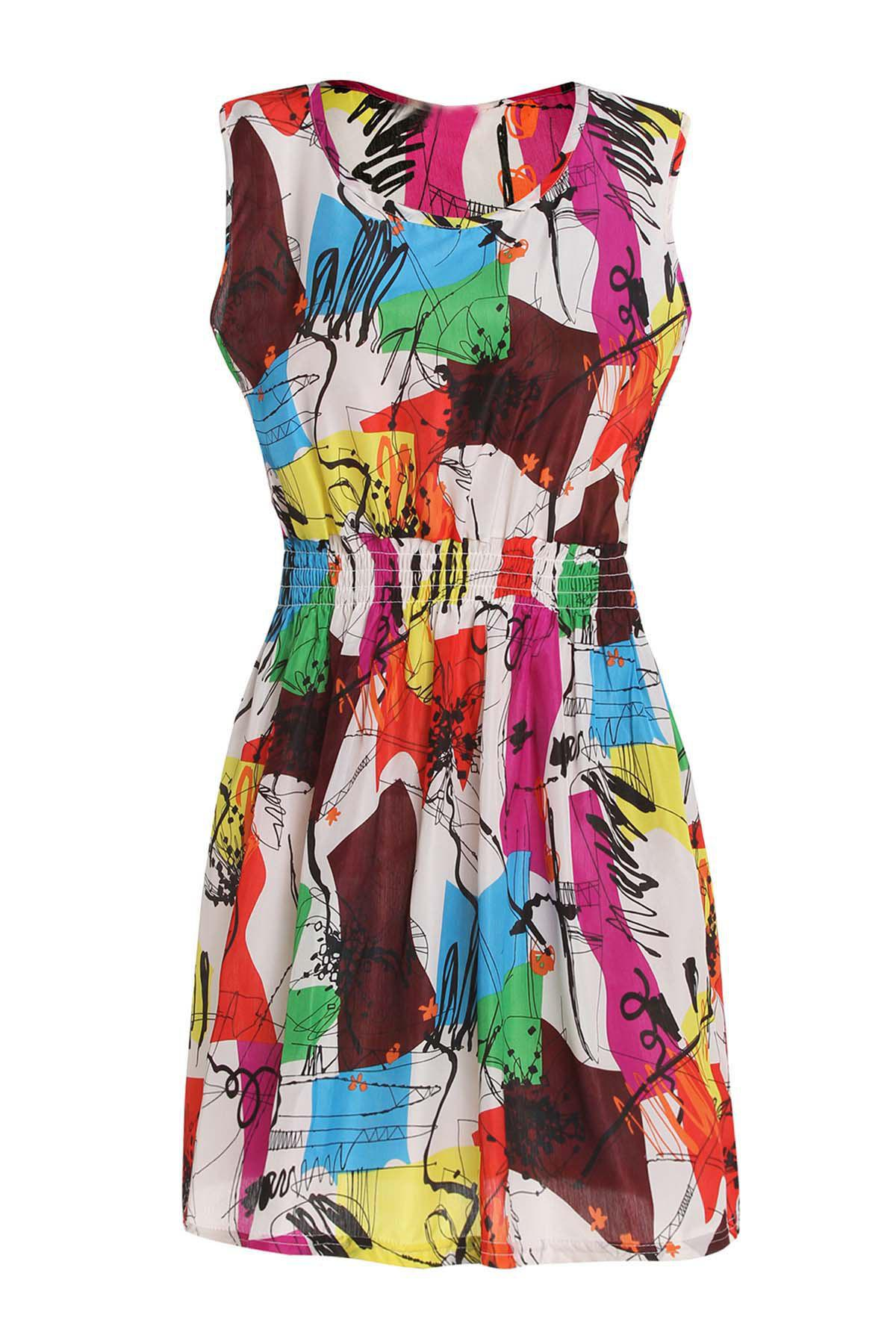Casual Sleeveless Scoop Collar Elastic Waist Printed Chiffon Women's Dress - COLORMIX S