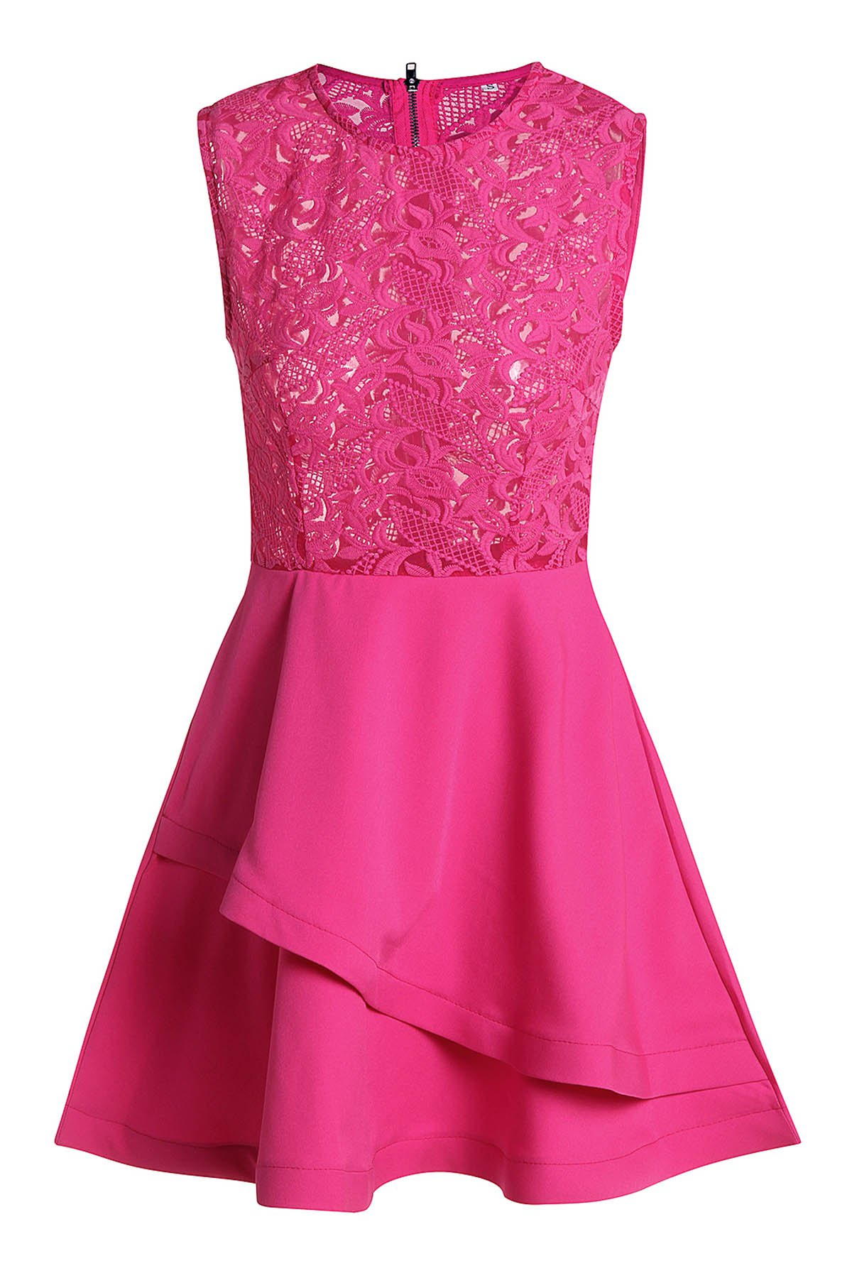 Alluring Round Collar Sleeveless See-Through Spliced Women's Club Dress - ROSE XL