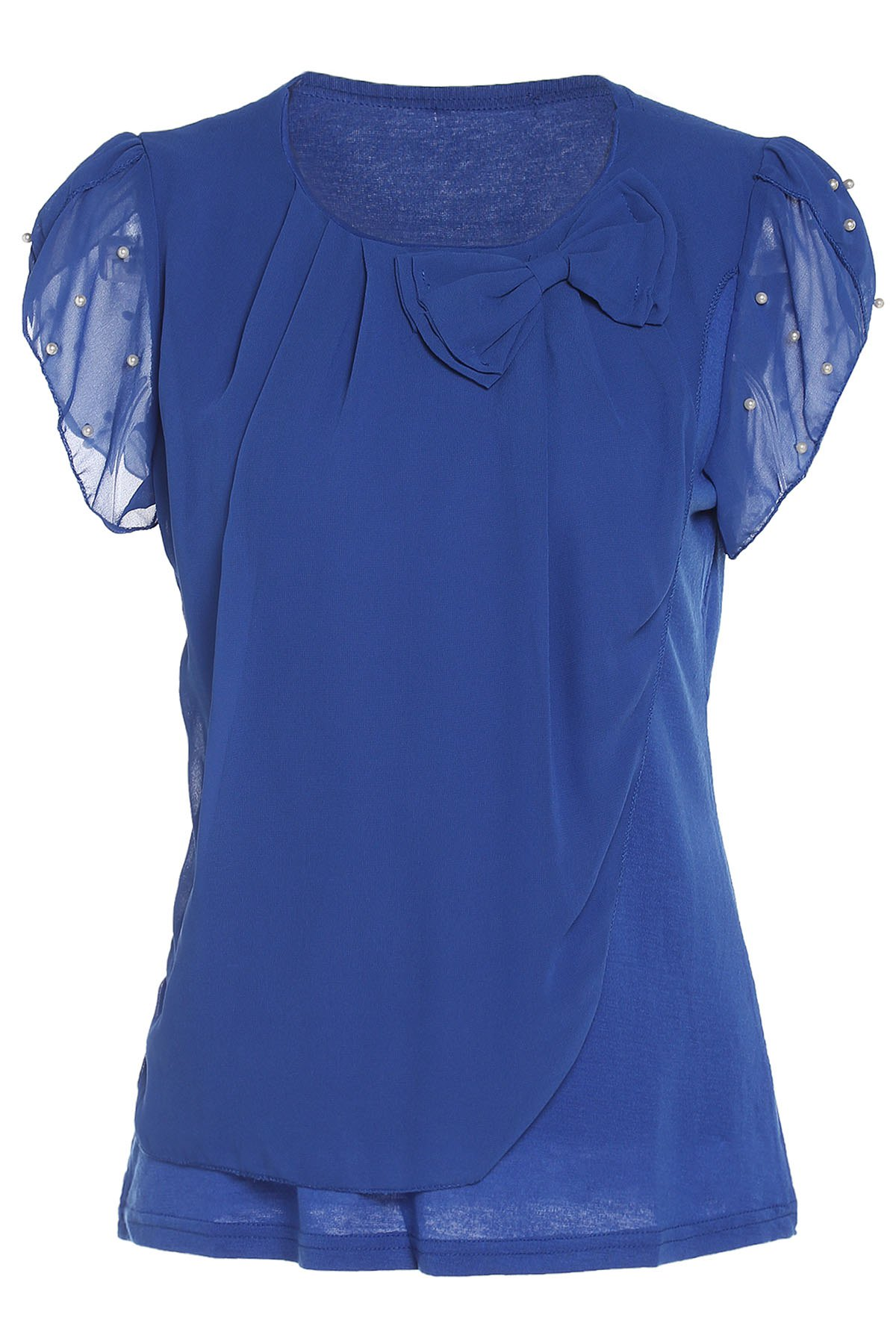 Stylish Women's Scoop Neck Bowknot Embellished Beaded Chiffon Blouse - BLUE XL