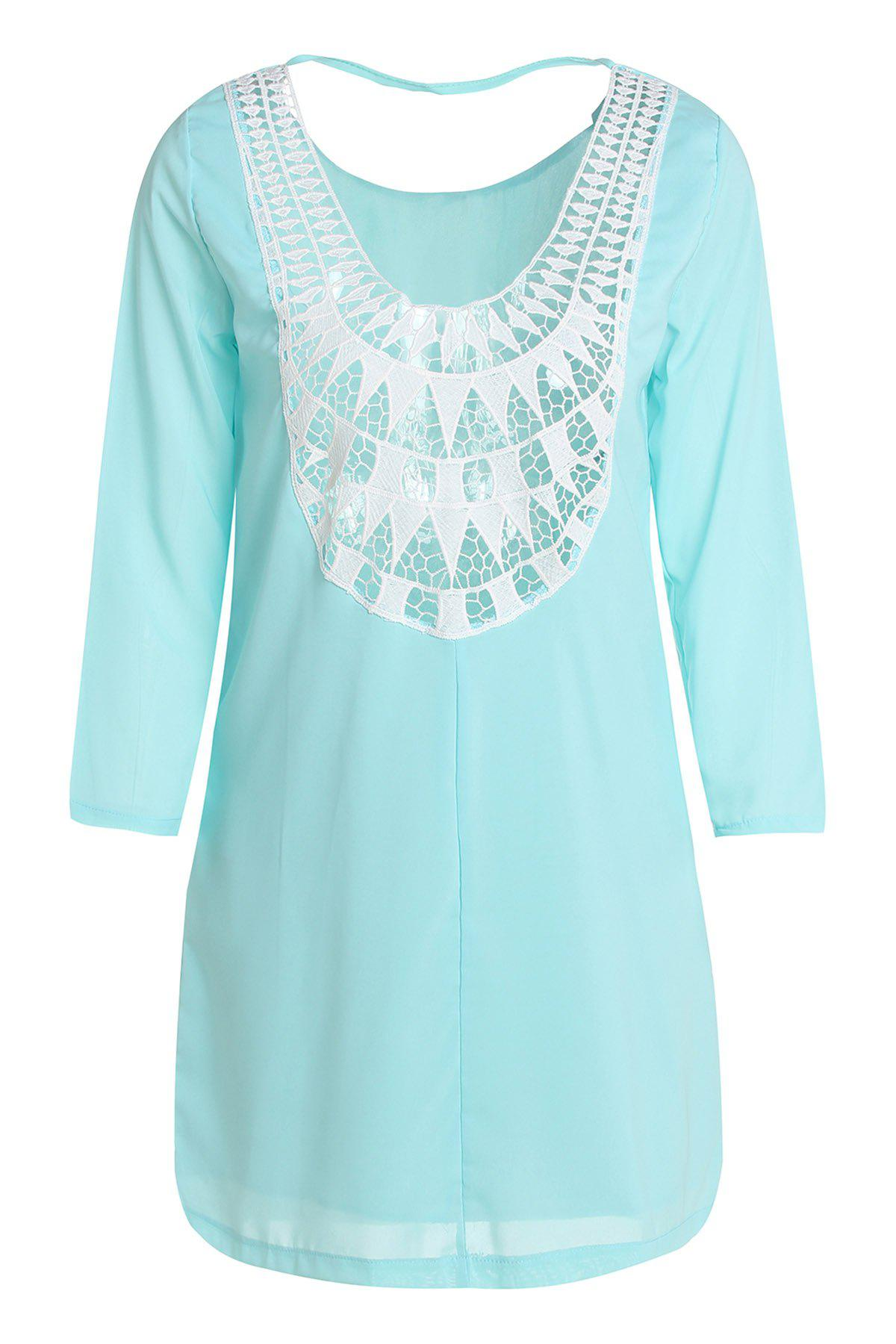 Fashionable Scoop Collar Long Sleeve Hollow Out Spliced Women's Dress - LIGHT BLUE XL