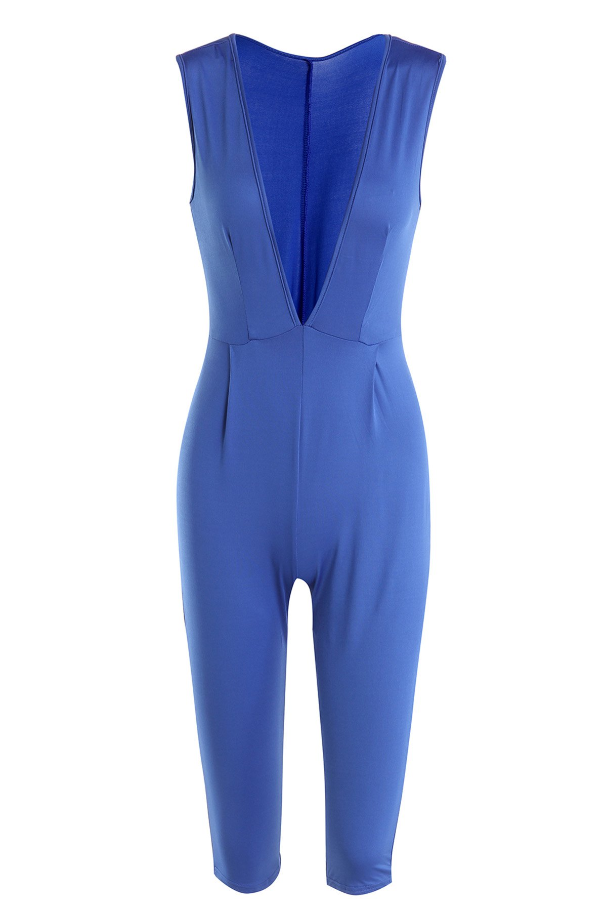 Stylish Sleeveless Plunging Neck Solid Color Women's Jumpsuit - BLUE M