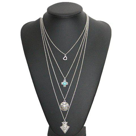 Gorgeous Multilayer Faux Turquoise Rhinestone Sun Sweater Chain For Women - SILVER