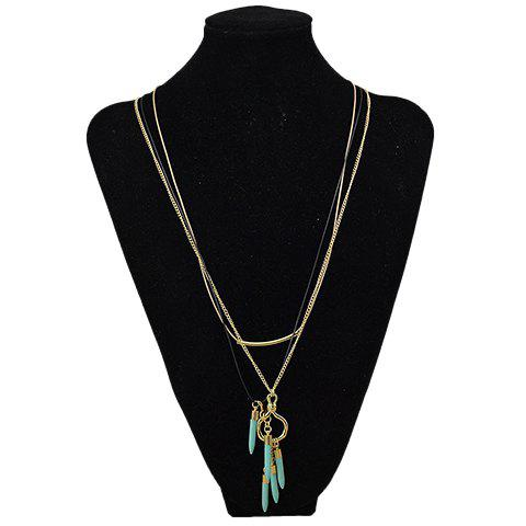 Gorgeous Multilayer Faux Turquoise Bullet Sweater Chain For Women - GOLDEN