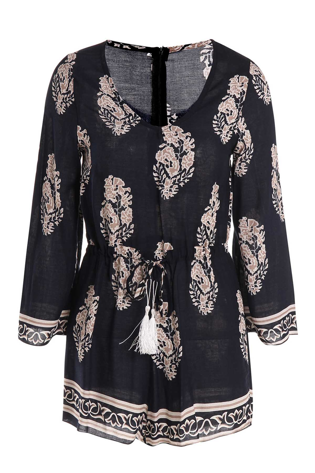 Casual Womens V-Neck Flare Sleeve Printed RomperWomen<br><br><br>Size: L<br>Color: BLUE