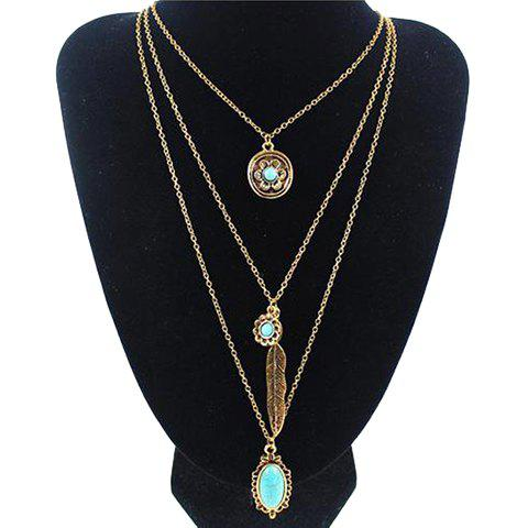 Gorgeous Multilayer Faux Turquoise Feather Flower Pendant Sweater Chain For Women