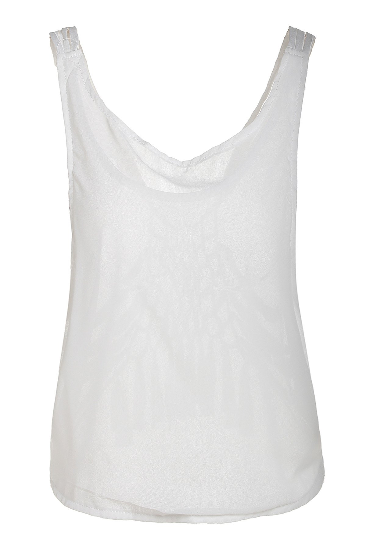 Sexy Scoop Neck See-Through Hollow Out Women's Beachwear - WHITE S