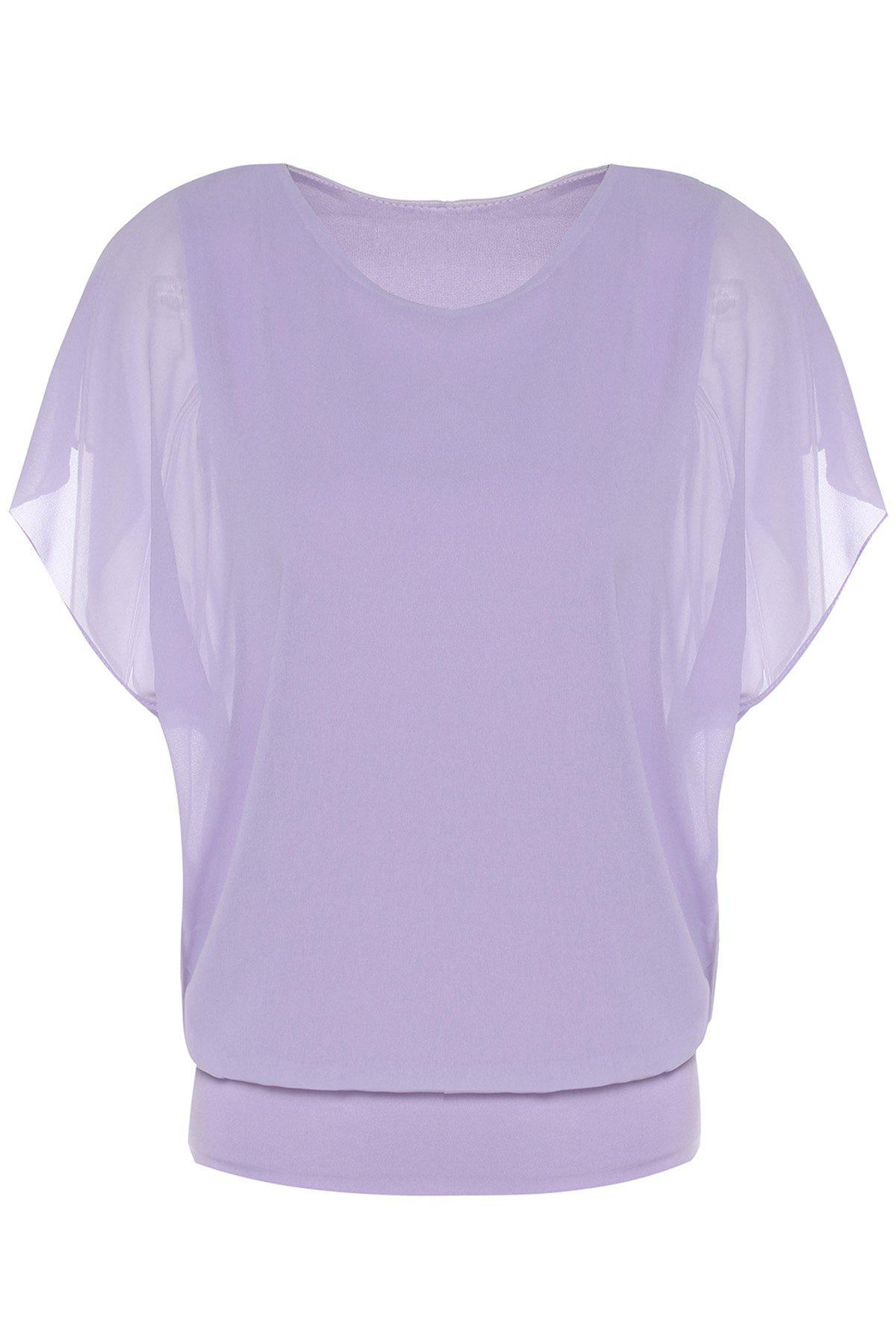 Stylish Women's Scoop Neck Dolman Sleeve Chiffon Blouse - VIOLET S