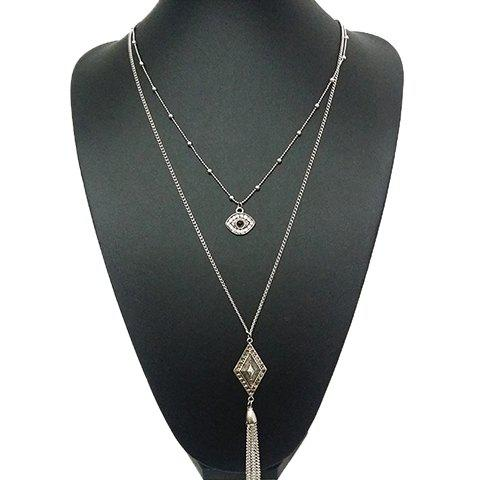 Rhinestone Eye Rhombus Sweater Chain - SILVER