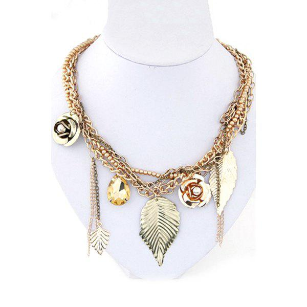 Chic Leaf Flower Bead Multilayered Necklace For Women