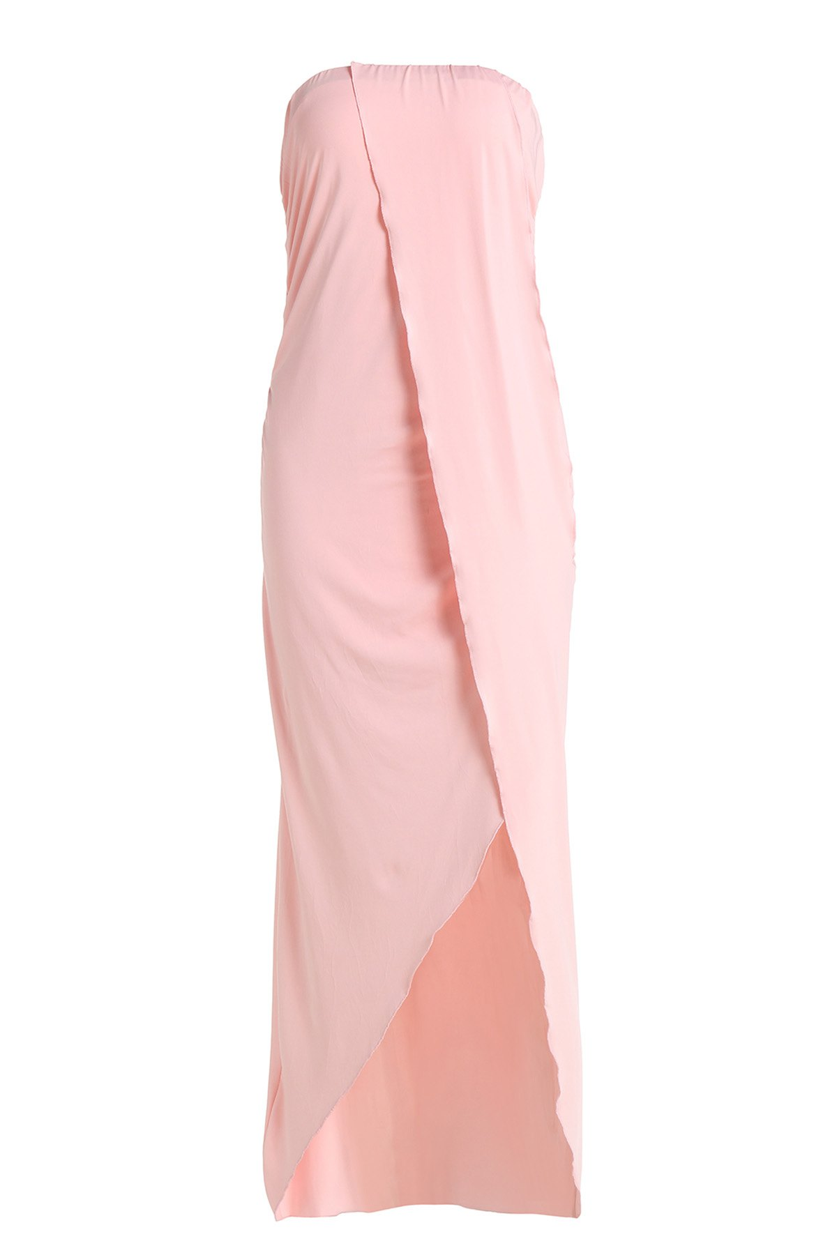 Sexy Strapless Sleeveless Solid Color Asymmetrical Women's Dress - PINK S