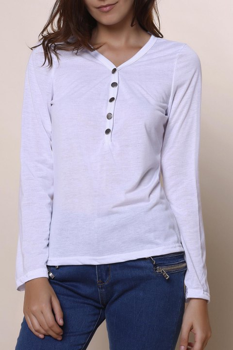 Sexy Women's Plunging Neckline Solid Color Long Sleeves T-Shirt - WHITE S