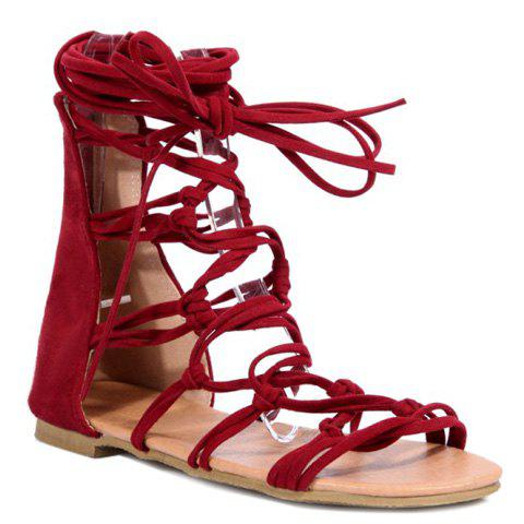 Leisure Cross Straps and Flock Design Women's Sandals - RED 38