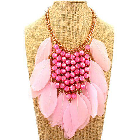 Feather Tassel Layered Bead Necklace - PINK
