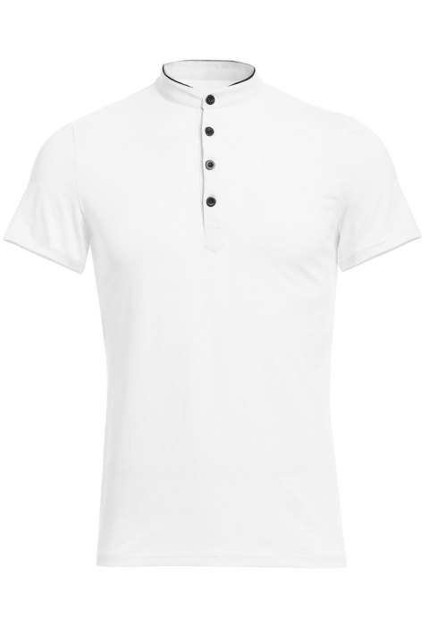 Stand Collar Multi-Button Color Spliced Short Sleeves Men's T-Shirt - WHITE XL