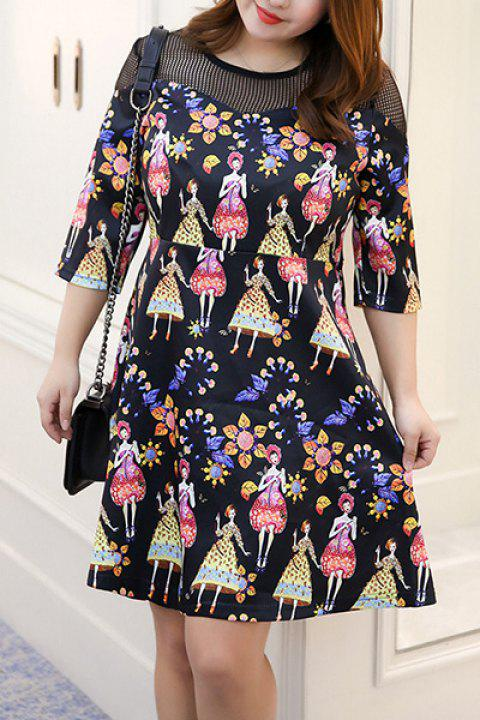 Chic Plus Size Flower Embellished Hollow Out Dress For Women - COLORMIX 2XL