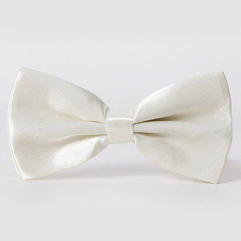 Stylish Men's Solid Color Smooth Satin Bow Tie - IVORY