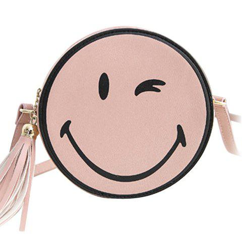 Cute Tassels and Smile Pattern Design Women's Crossbody Bag - SHALLOW PINK