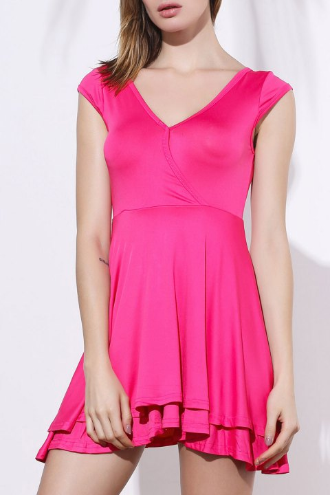 Trendy Pink Plunging Neck A-Line Dress For Women - PINK XL