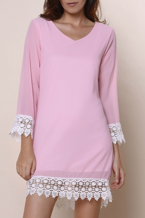 Stylish Long Sleeve V-Neck Laciness Chiffon Women's Dress - PINK M