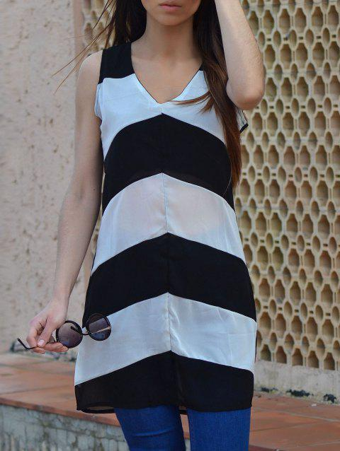 Sexy Sleeveless Plunging Neck Zig Zag Women's Dress - WHITE/BLACK XL