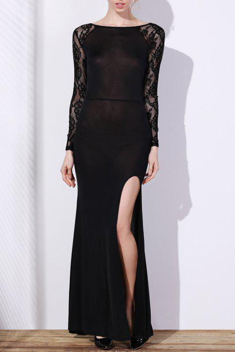 Elegant Long Sleeve Slash Neck High Slit Lace Splicing Women's Black Dress - BLACK XL